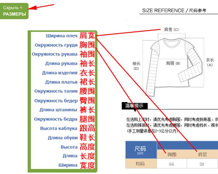 Размеры китайской одежды